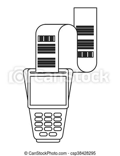 dataphone with receipt icon line design - csp38428295