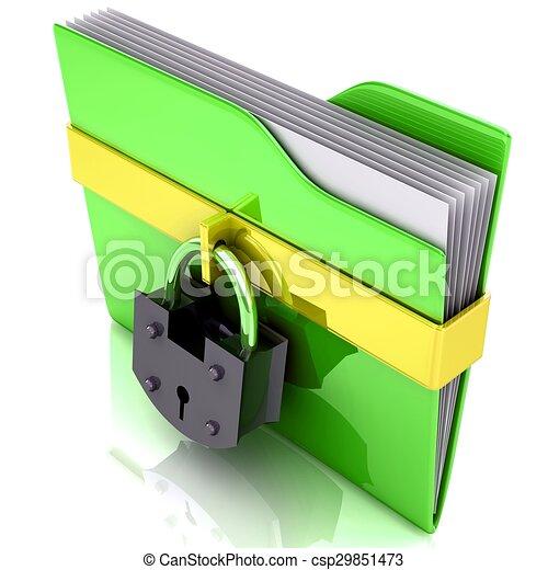 daten, concept., sicherheit, lock., büroordner - csp29851473