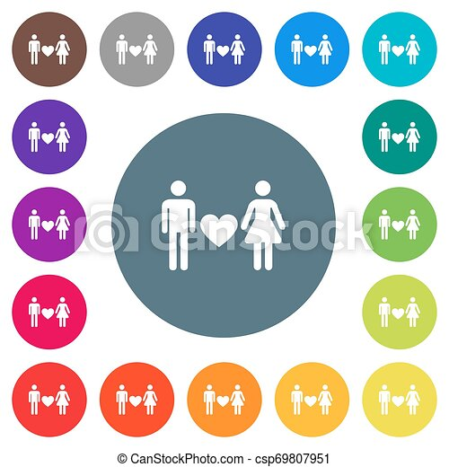 Dating flat white icons on round color backgrounds - csp69807951