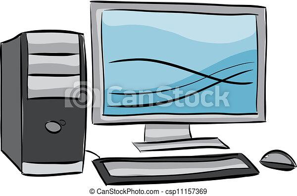 dator illustration, skrivbord - csp11157369