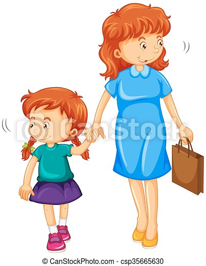 daughter and mom holding hands illustration vectors search clip rh canstockphoto ie