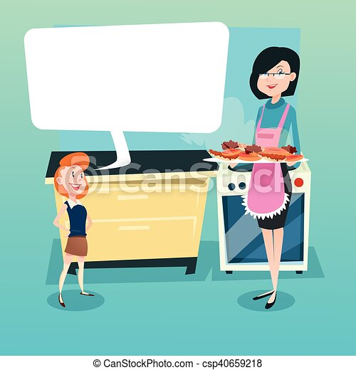Daughter And Mother In Kitchen Woman Holding Tray With Cakes Biscuits - csp40659218