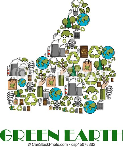 Daumen, plakat, auf, umwelt, schutz, grüne erde. Begriff, poster ...