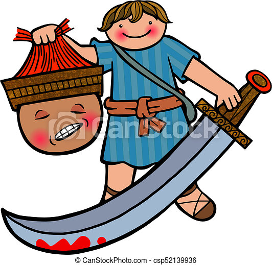 david and goliath cartoon illustration of the young boy drawings rh canstockphoto com David and Goliath Cartoon David and Goliath Coloring Pages