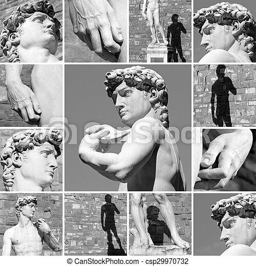 David de Miguel Ángel de Firenze, detalles de escultura - csp29970732