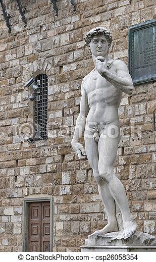 La estatua de David de Miguel Ángel en Florencia, Italia - csp26058354