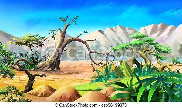 Day t paysage africaine t solitaire montagnes - Dessin paysage africain ...