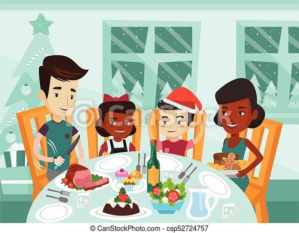 day., 祝う, multiethnic, 家族の クリスマス - csp52724757