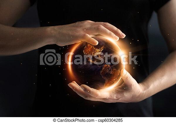 day., 要素, 提示, 消費, 供給される, これ, イメージ, 世界的である, 環境, s, 保存, world', 手を持つ, 地球, エネルギー, 夜, concept., nasa - csp60304285