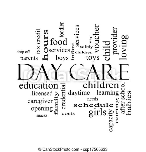 Day care word cloud concept in black and white with great ...