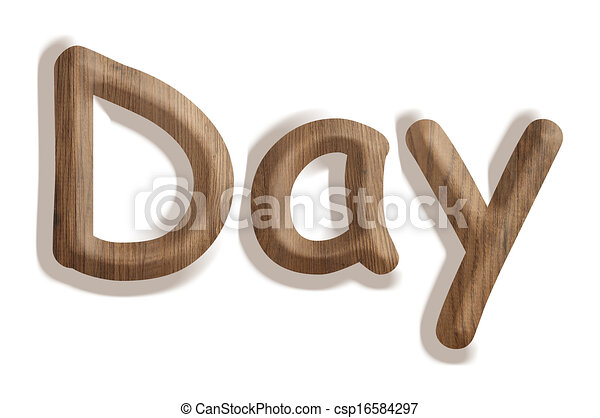 day business concept wooden word day on white background