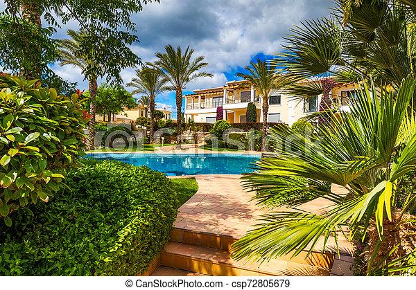 Gran patio trasero con piscina, jacuzzi y sillas de salón. Piscina en el patio trasero. Una piscina increíble y un jardín con palmeras y flores en un día soleado. - csp72805679