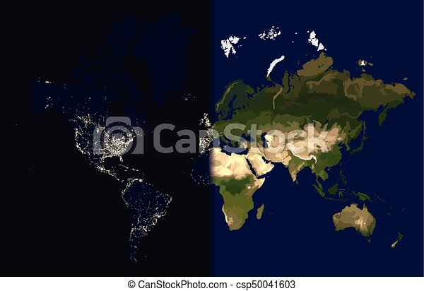 Day in the east, night in the west, world map vector illustration.