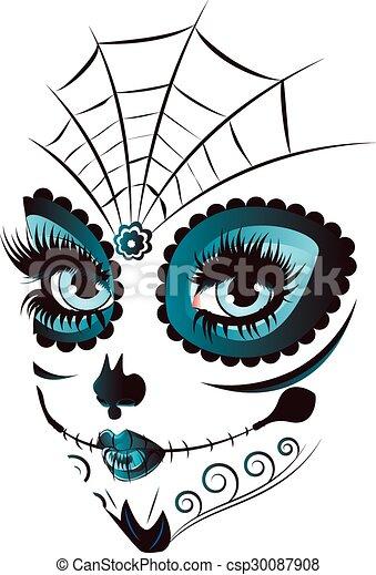 Art Sugar Skull Girl Drawing