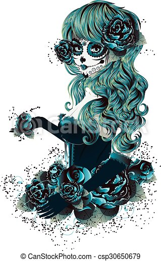 Day Of Dead Girl Sugar Skull Girl Face With Make Up For Day Of The