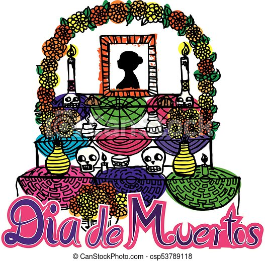 day of the dead altar de muertos 2 vector image vector clip art rh canstockphoto com day of the dead border clipart day of the dead border clipart