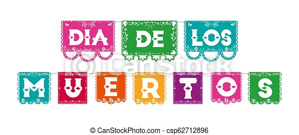 Day Of The Dead Color Paper Flag Typography Sign