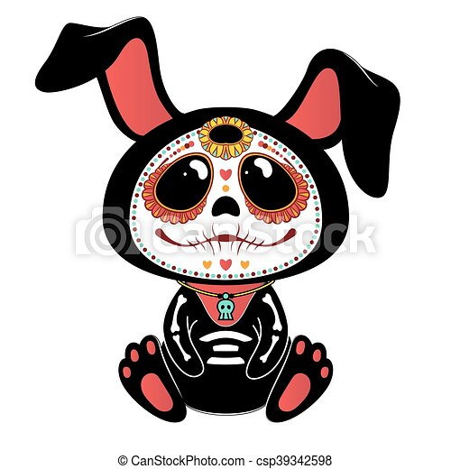 day of the dead dia de los muertos style bunny eps vectors rh canstockphoto com day of the dead clip art black and white free day of the dead skull clipart