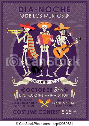 day of the dead dia de los muertos invitation poster to the day