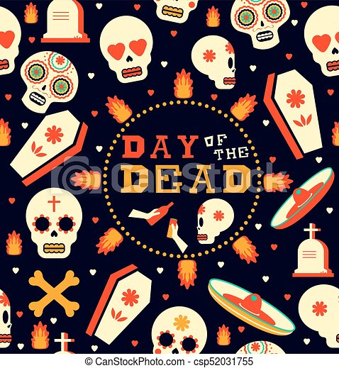 Day Of The Dead Emoji Skull Seamless Pattern Art