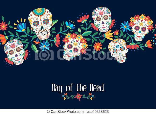 day of the dead flower skull background design day of the dead