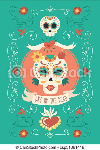 day of the dead hand drawn catrina sugar skull art day of the dead