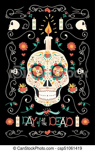 day of the dead hand drawn mexican sugar skull art mexican day of