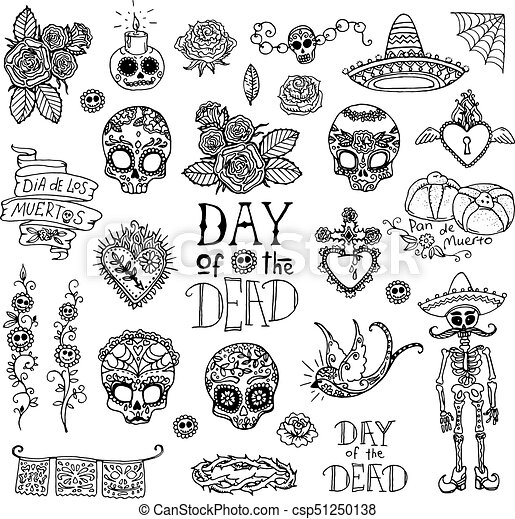 Day of the Dead hand sketched doodles - csp51250138