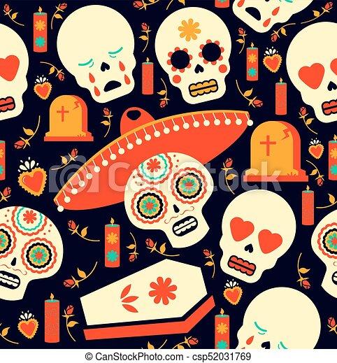 Day Of The Dead Mariachi Skull Emoji Background