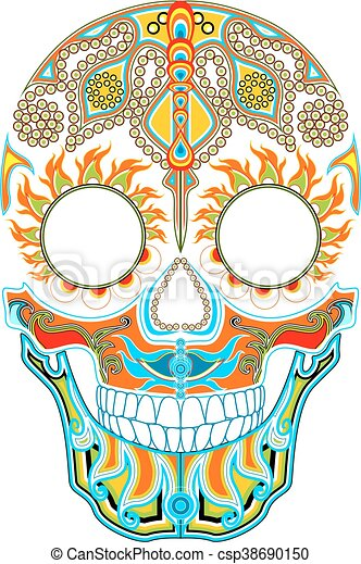 day of the dead mexican festival ornamented skull