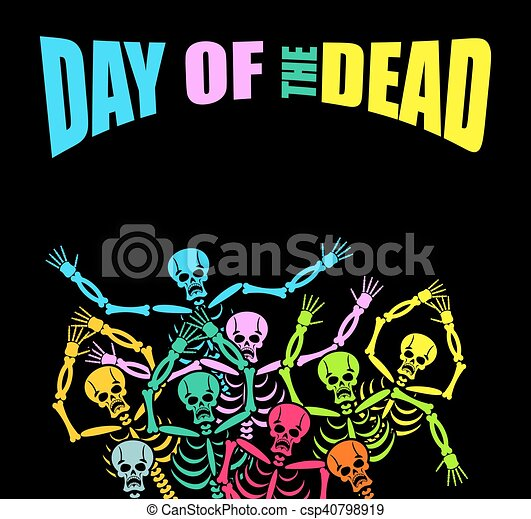 Day Of The Dead Multicolored Skeleton Color Skull Background For National Holiday In