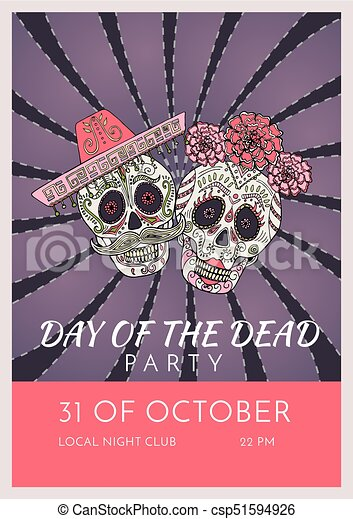 day of the dead party poster template with two sugar skulls vector