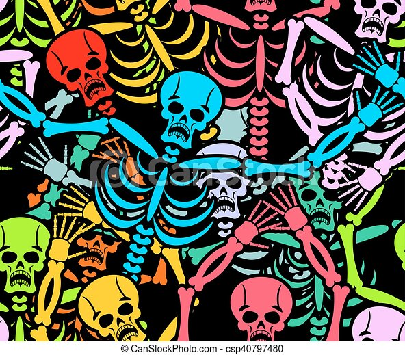 Day Of The Dead Seamless Pattern Multicolored Skeleton Ornament Skull Texture Background