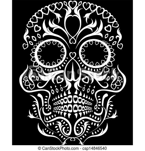 day of the dead skull rh canstockphoto com day of the dead vector art day of the dead girl vector