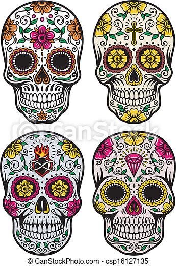 Day Of The Dead Skull Vector Set - csp16127135