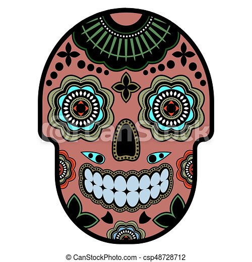 day of the dead sugar skull with ornament bright vector clip art rh canstockphoto com day of the dead skull clipart day of the dead border clipart