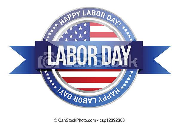 Arbeitstag. Wir Siegel und Banner - csp12392303