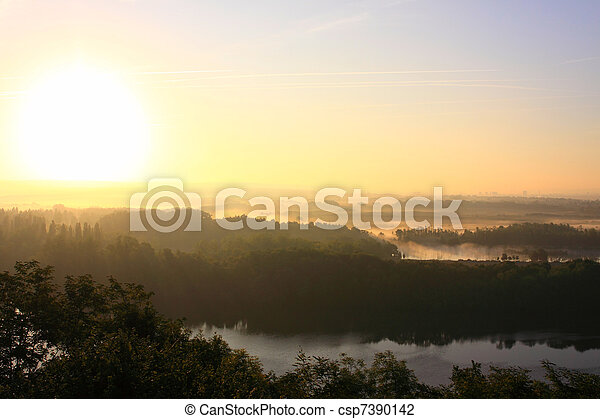 daybreak in the mist of the valley of the Seine - csp7390142