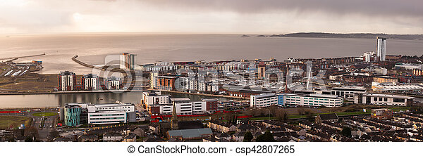 Daybreak over Swansea city - csp42807265