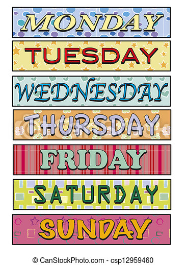 illustration of days of the week rh canstockphoto com 7 days of the week clipart days of the week animated clipart