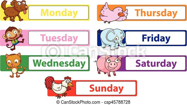 days of the week with animals on the signs illustration rh canstockphoto com days of the week calendar clipart days of the week chart clipart