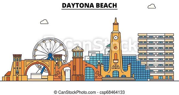 Daytona Beach , United States, outline travel skyline vector illustration. - csp68464133
