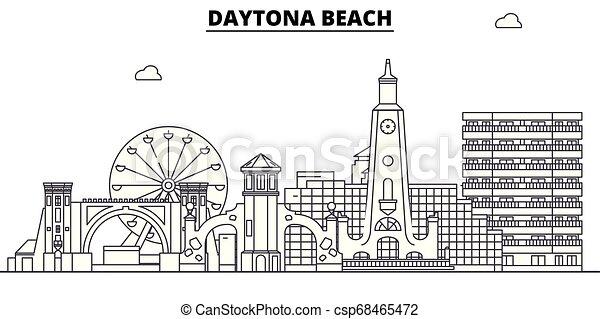 Daytona Beach , United States, outline travel skyline vector illustration. - csp68465472