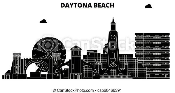 Daytona Beach, United States, vector skyline, travel illustration, landmarks, sights. - csp68466391