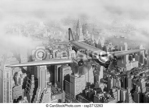 Line Drawing Nyc : Dc 3 over nyc. vintage image of a douglas new york