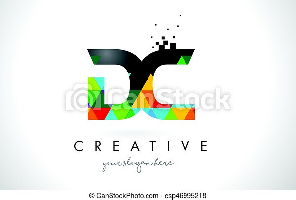 DC D C Letter Logo with Colorful Triangles Texture Design Vector. - csp46995218