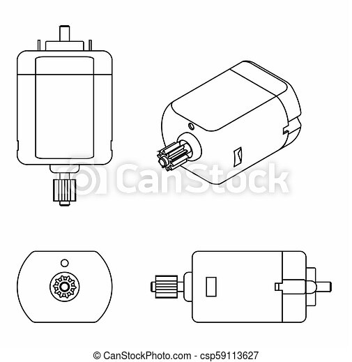 DC Motor colored. Outline only - csp59113627