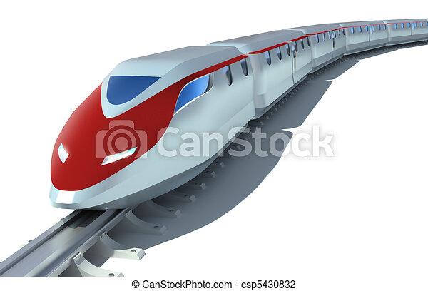 de alta velocidad, pasajero, blanco, tren - csp5430832