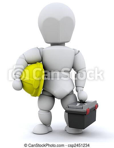 de arbeider van de bouw - csp2451234
