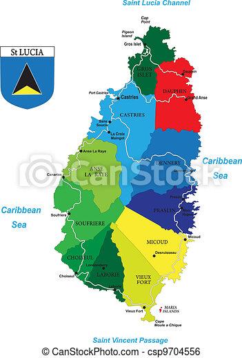 de caraïben, lucia, eiland, heilige, kaart - csp9704556
